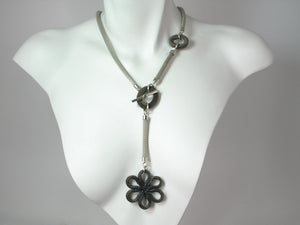 Mesh Necklace with Mesh Flower Drop | Erica Zap Designs