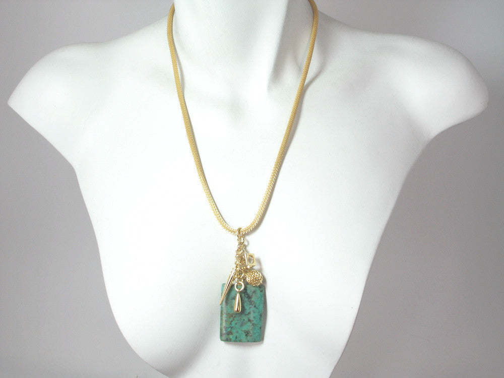 Mesh Necklace with Turquoise & Charms Pendant