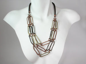 Mesh Necklace with 3-Strands of Hammered Oval Chain | Erica Zap Designs