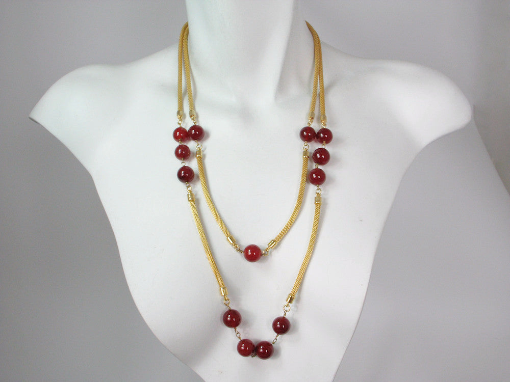 2-Strand Graduated Mesh Necklace with Carnelian | Erica Zap Designs