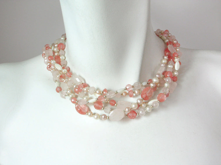 5-Strand Pearl & Stone Mix Necklace