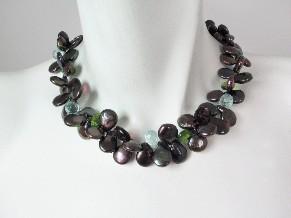 Coin Pearl & Stone Mix Necklace