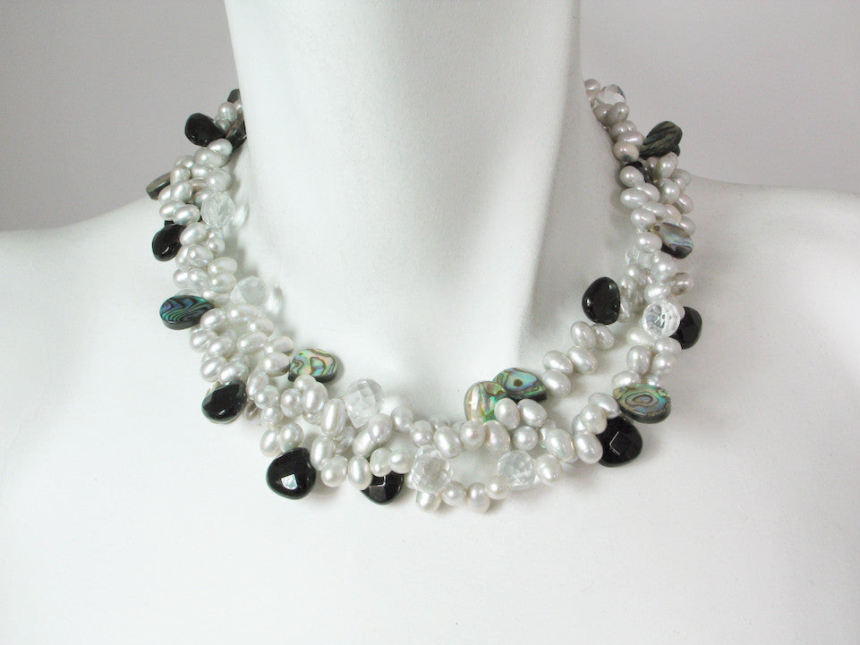 3-Strand Pearl & Stone Necklace