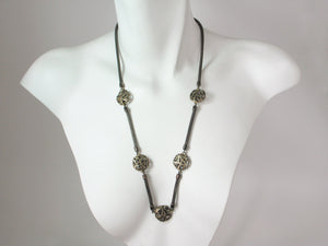 Long Mesh Necklace with Wire Disc Beads | Erica Zap Designs