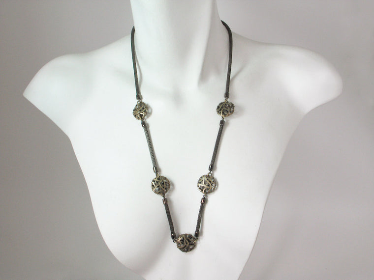 Long Mesh Necklace with Wire Disc Beads