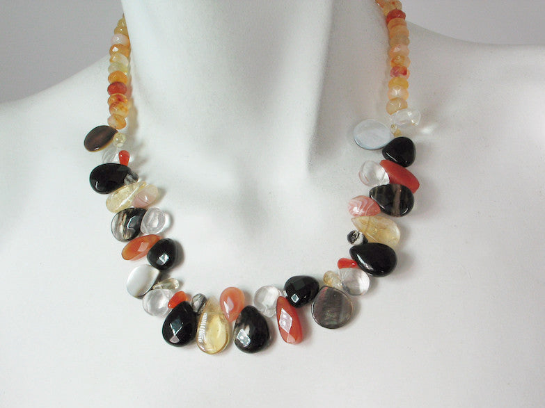 Faceted Briolette & Rondelle Stone Necklace | Erica Zap Designs