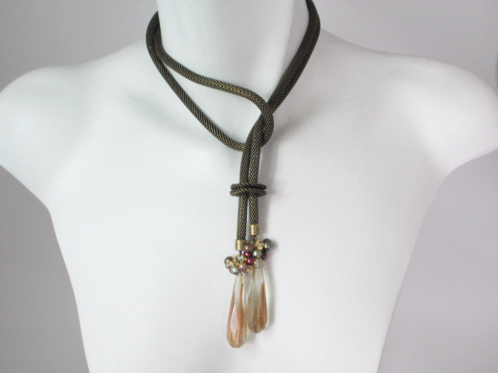 Mesh Bolo with Pearl Cluster & Stone Drop Ends | Erica Zap Designs