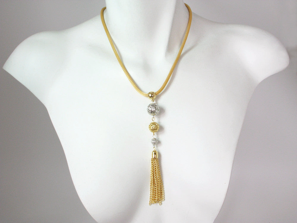 Thin Mesh Necklace with Filigree Bead & Tassel Drop | Erica Zap Designs