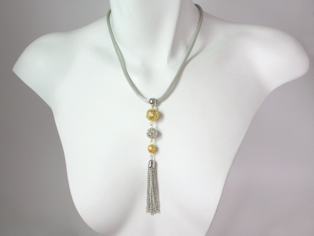 Thin Mesh Necklace with Filigree Bead & Tassel Drop