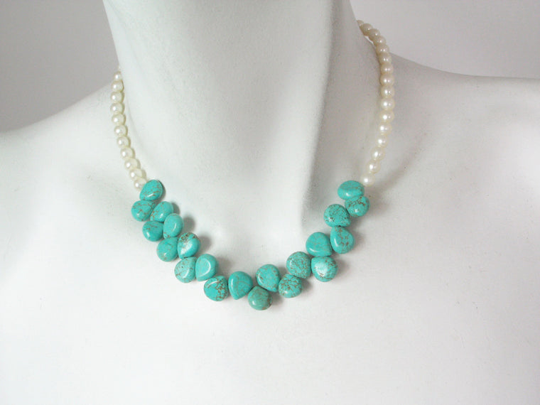 White Pearl & Turquoise Necklace