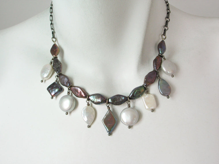 Coin Pearl & Oxidized Sterling Chain Necklace
