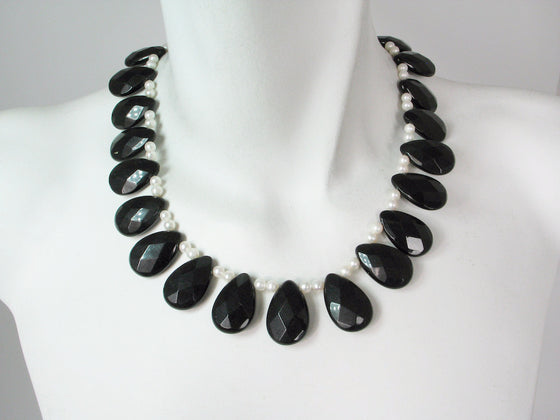 Onyx & White Pearl Necklace | Erica Zap Designs