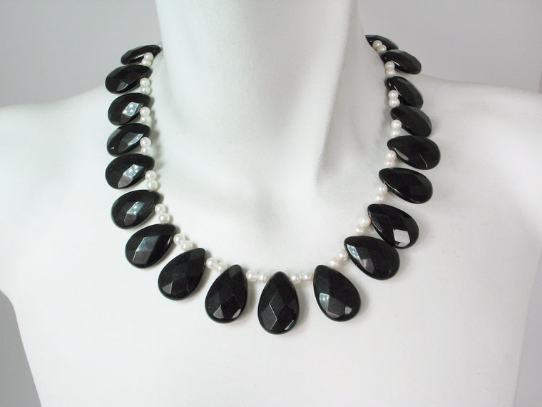 Onyx & White Pearl Necklace