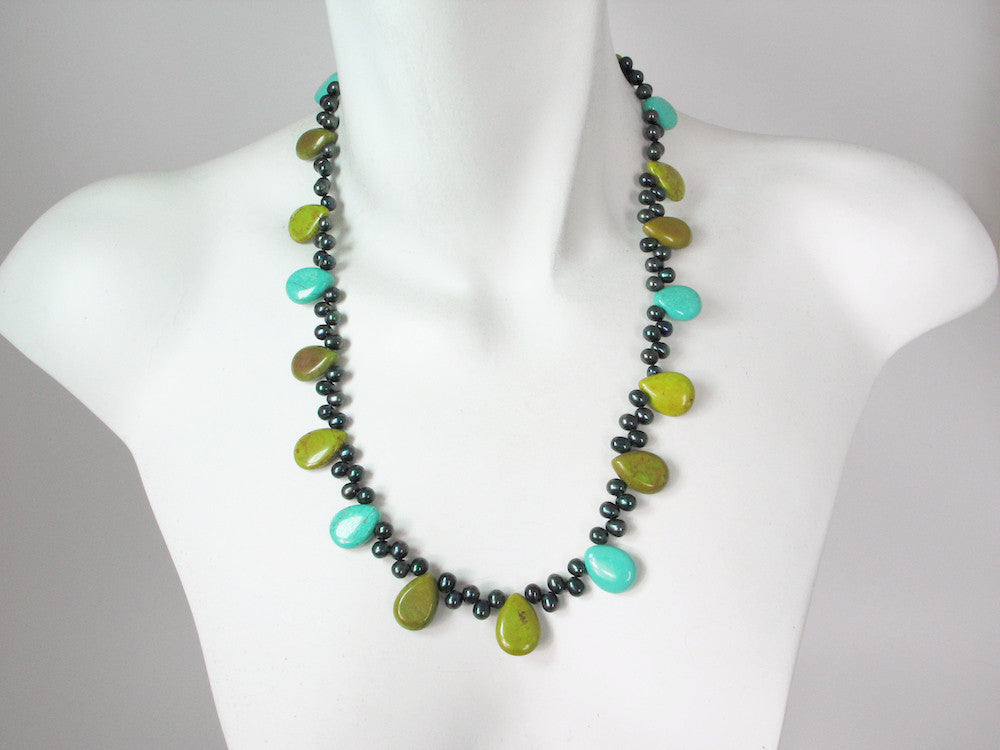 Turquoise & Peacock Pearl Necklace | Erica Zap Designs