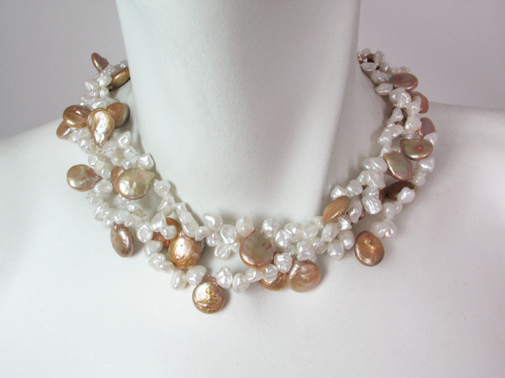 3-Strand Keshi & Coin Pearl Necklace