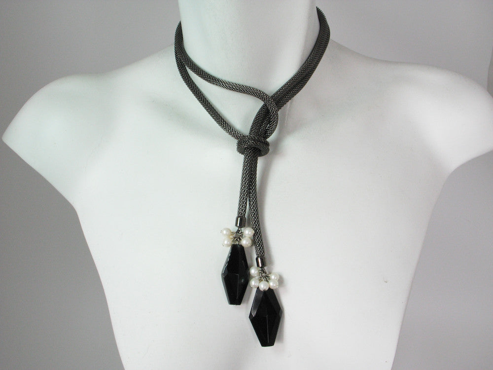 2-Way Mesh Bolo Necklace with Onyx & Pearls | Erica Zap Designs