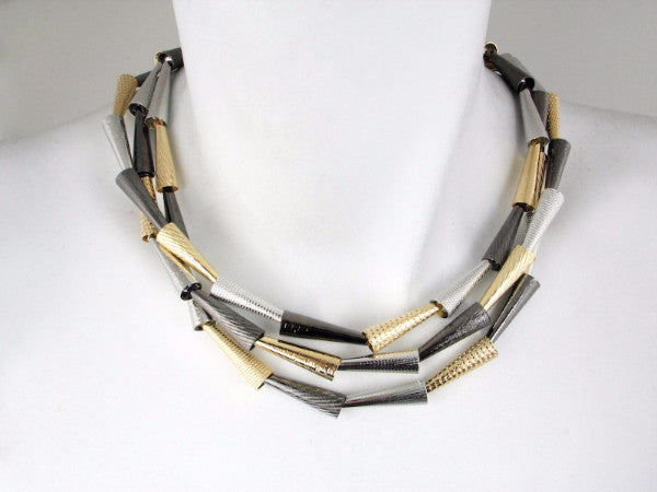 3-Strand Textured Cone Necklace - Erica Zap Designs
