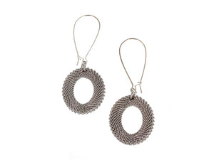 Oval Mesh Drop Earrings, Long - Erica Zap Designs
