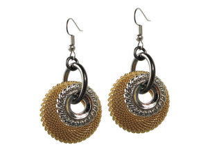 Large Mesh & Textured Circle Earrings - Erica Zap Designs