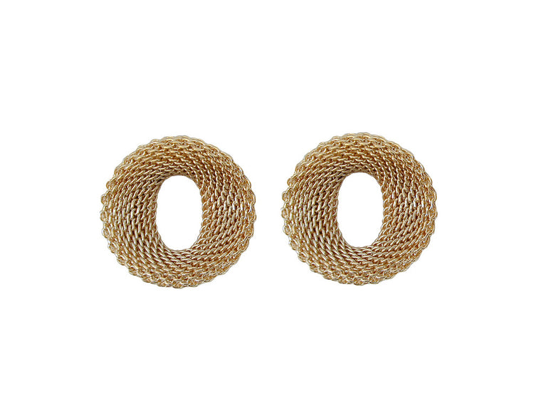 Small Contoured Oval Mesh Earrings