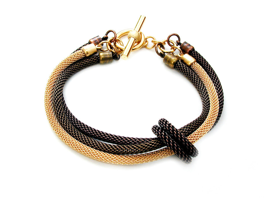 3-Strand Mesh Bracelet with Removable Ring (mixed) - Erica Zap Designs