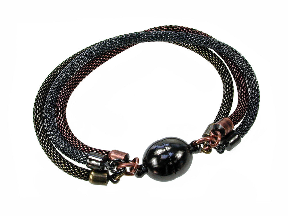 3-Strand Mesh Bracelet with Magnetic Ball Clasp - Erica Zap Designs