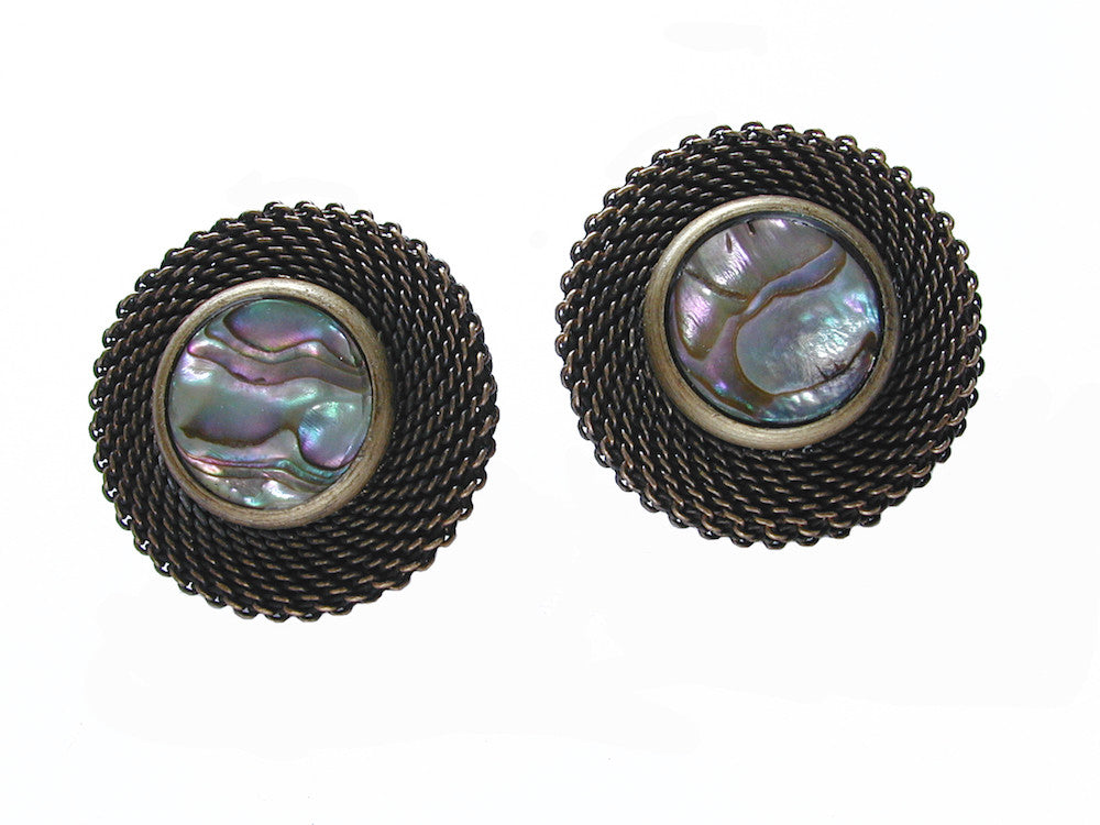 Circle Mesh and Stone Earrings - Erica Zap Designs