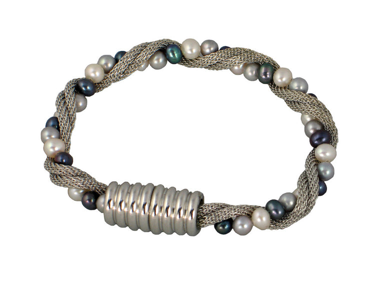 Mesh & Pearl Twist Bracelet with Magnetic Clasp - Erica Zap Designs