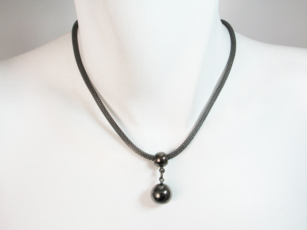Thin Mesh Necklace with Ball Drop | Erica Zap Designs