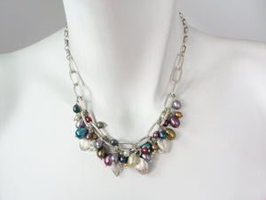 Sterling Leaf & Pearl Cluster Necklace