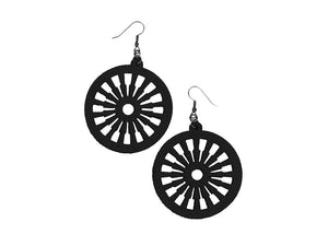 Carro Wheel Pattern Leather Earrings | Erica Zap Designs