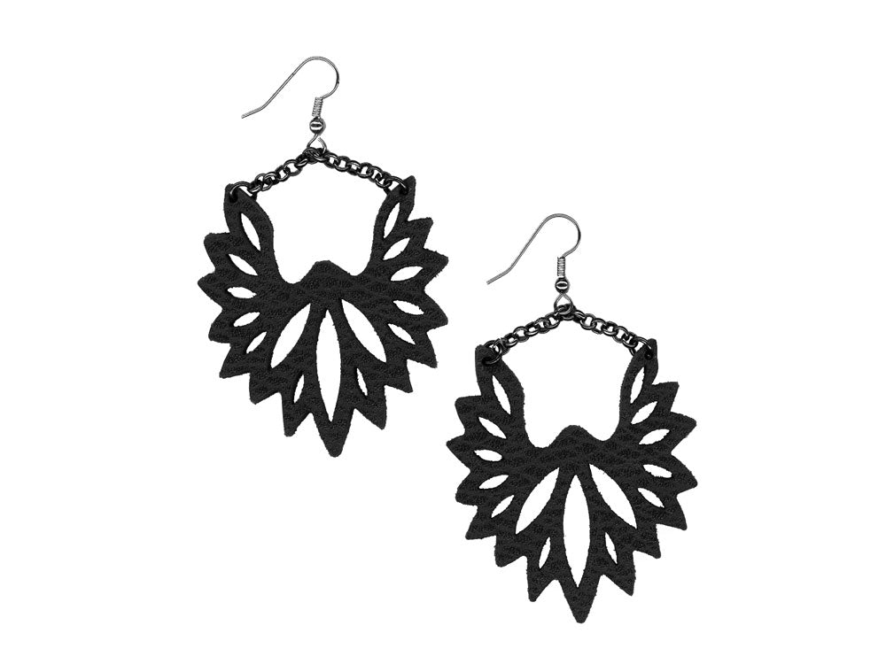Fan Pattern Leather Earrings with Chain | Erica Zap Designs