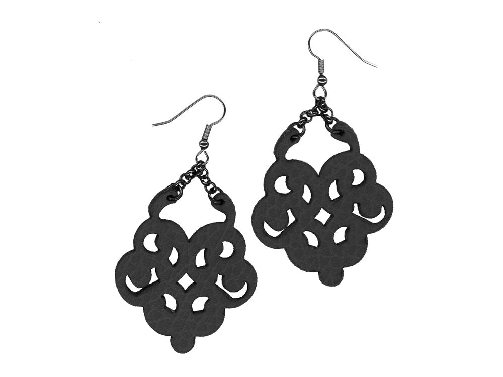 Vintage Lace Pattern Leather Earrings with Chain | Erica Zap Designs