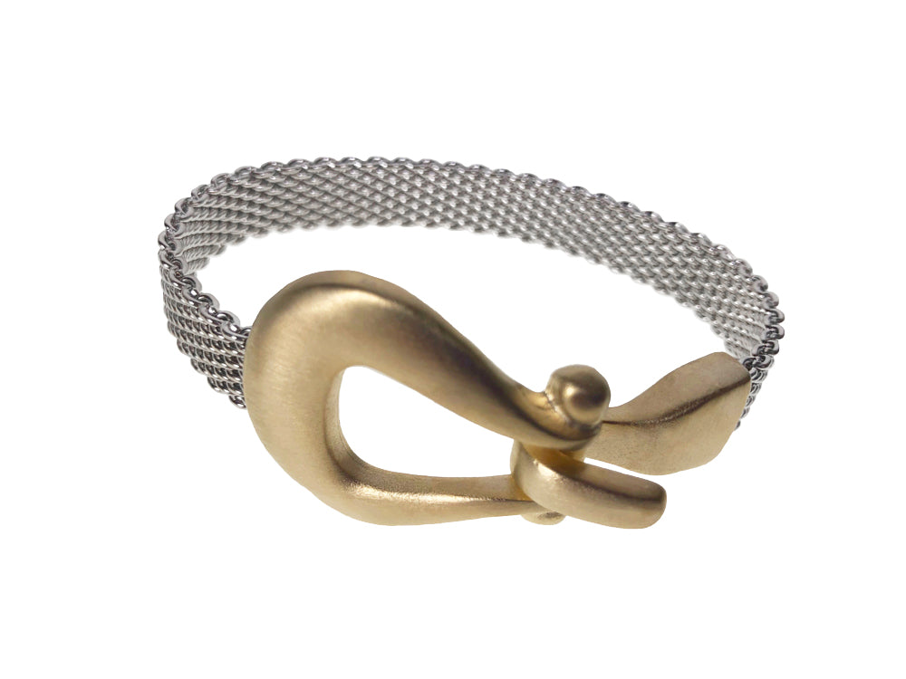 Flat Mesh Bracelet with Horseshoe Hook Clasp | Erica Zap Designs