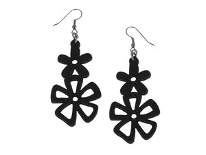 Double Mixed Flower Leather Earrings | Erica Zap Designs