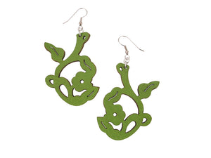 Art Nouveau Flower Leather Earrings | Erica Zap Designs
