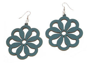 Large Circle Flower Leather Earrings | Erica Zap Designs