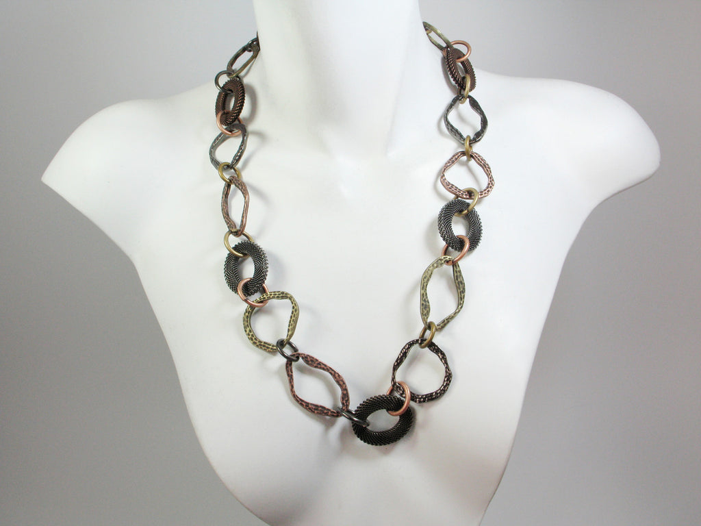 Oval Link Mesh & Metal Necklace - Erica Zap Designs
