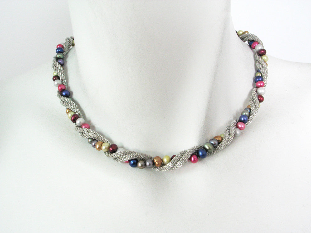 Mesh & Pearl Twist Necklace - Erica Zap Designs