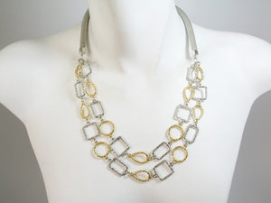 Mesh Necklace with 2-Strands of Geo Shapes | Erica Zap Designs