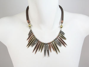 Mesh Necklace with Textured Marquis Bib | Erica Zap Designs