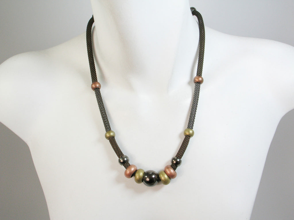 Mesh & Bead Section Necklace - Erica Zap Designs