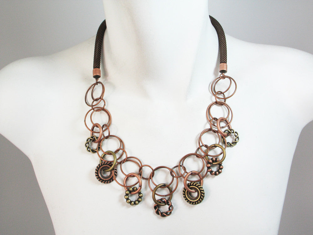 Mesh Necklace with Linked Circles & Textured Rings - Erica Zap Designs