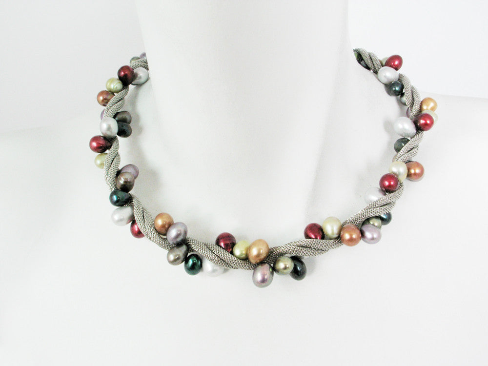 Mesh & Large Pearl Twist Necklace - Erica Zap Designs