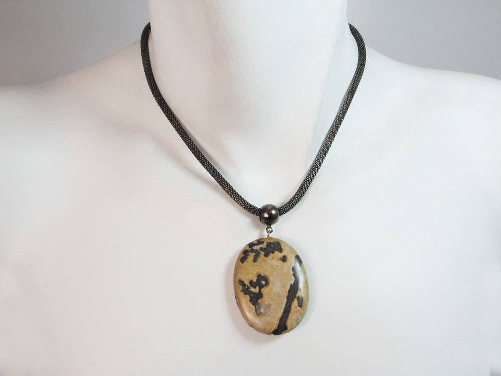Mesh Necklace with Stone Pendant - Erica Zap Designs