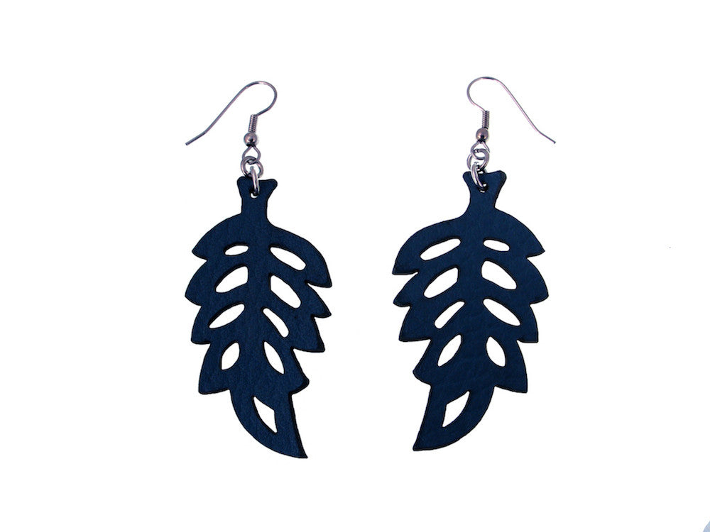 Leaf Pattern Leather Earrings - Erica Zap Designs