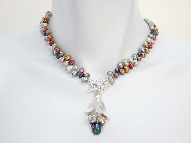 Pearl Necklace with Bud Pendant - Erica Zap Designs