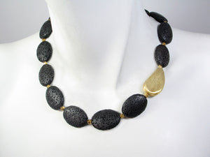 Lava Rock Necklace with Oval Bead - Erica Zap Designs
