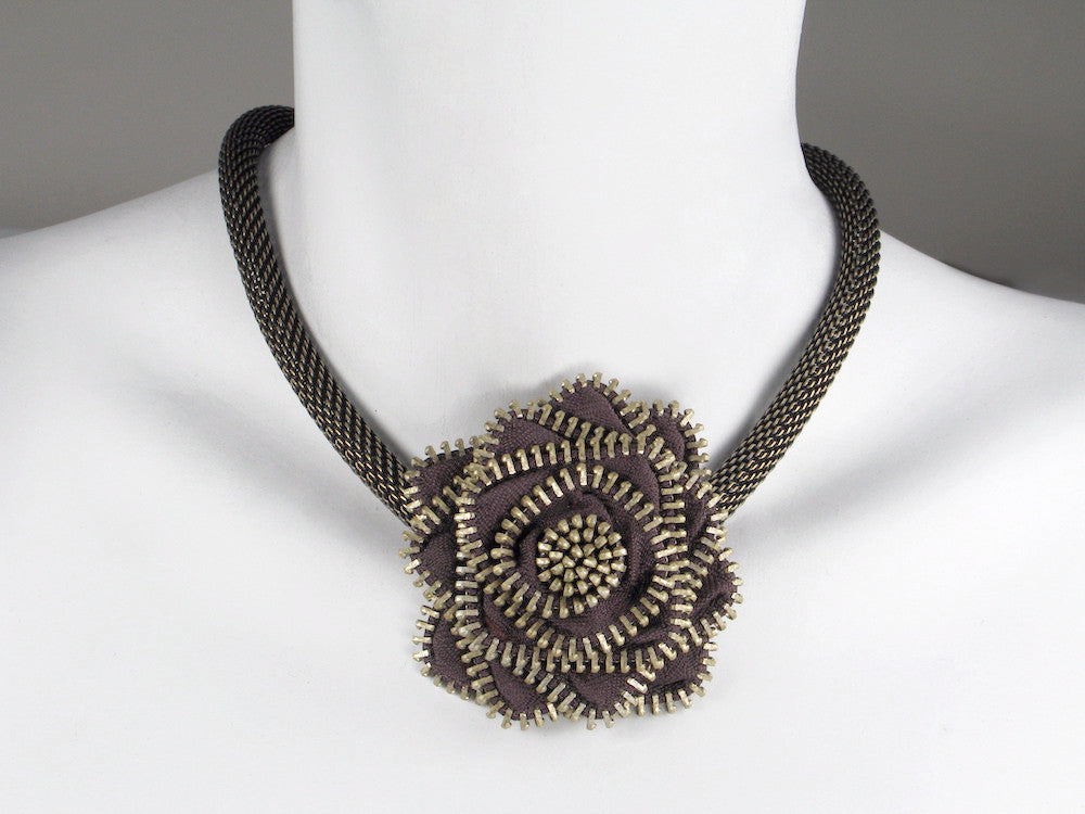 Zipper Flower Mesh Necklace - Erica Zap Designs