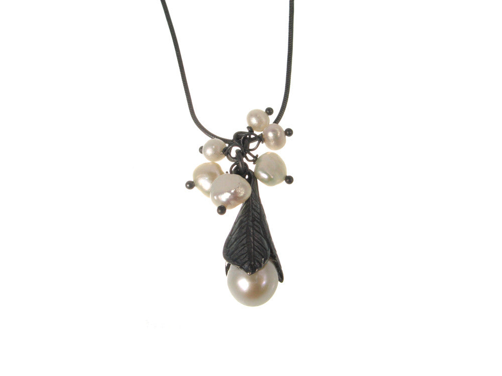Trumpet Leaf & Pearl Cluster Pendant Necklace - Erica Zap Designs